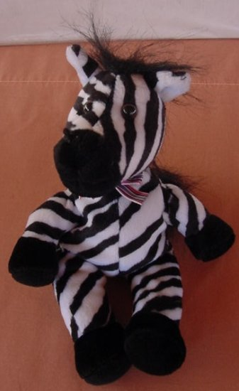 Zebra Black & White Striped Beanie Stuffed Plush 6""