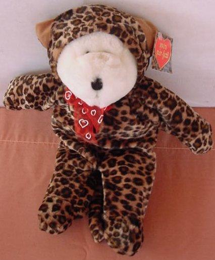 "GAC Galerie Bear in Leopard Outfit Stuffed Plush 11"""