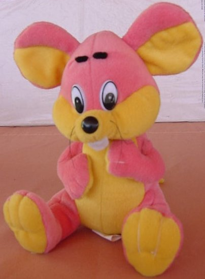Kuddle Me Toys Pink & Yellow Mouse Stuffed Plush 7""