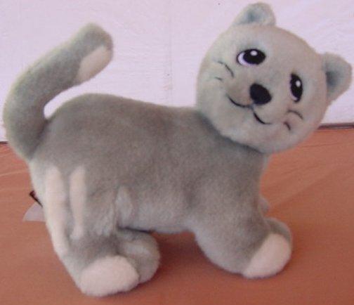 "Lego Gray White Stripes Kitty Cat Stuffed Plush 6"" Cute"
