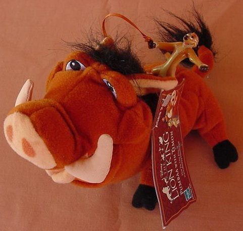 "Lion King Pumba & Riding Timon Stuffed Plush 7"" Tag"