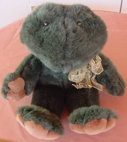 "Boyds Croaking Sound Green Frog Stuffed Plush 13"" 1997"