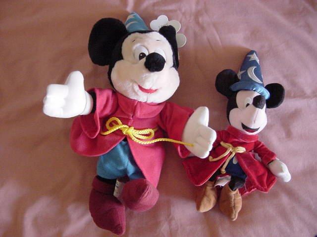 Mickey Mouse Sorceror Beanie & Stuffed Plush Lot of 2
