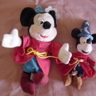 Mickey Mouse Sorceror Beanie & Stuffed Plush Lot of 2