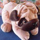 "Bestever Wrinkly Dog Pug Stuffed Plush 10"" Laying Down"