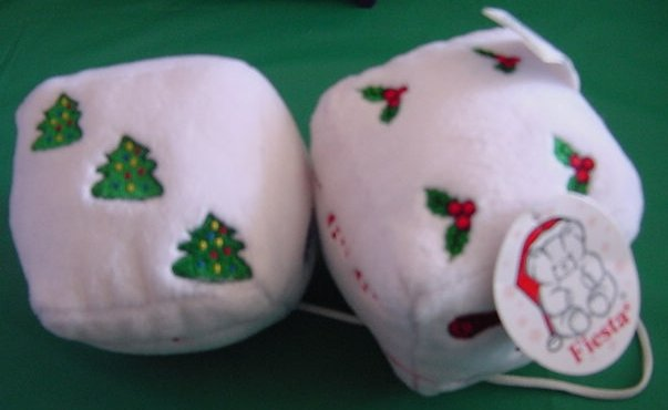Fiesta White Christmas Fuzzy Dice Stuffed Plush Tag