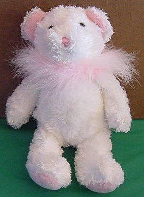 """Fiesta Soft White Pink Boa Bear Stuffed Plush 9"""""""