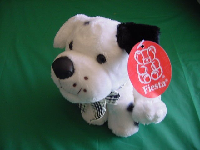 Fiesta White Black Spotted Dog Puppy Stuffed Plush Tag