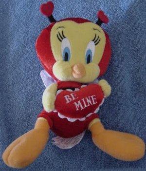 "Tweety Bird Be Mine Red Bug Stuffed Plush 7"" Amscan"