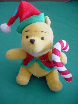 "Winnie Pooh Bear Candy Cane Stuffed Plush 5"" Applause"