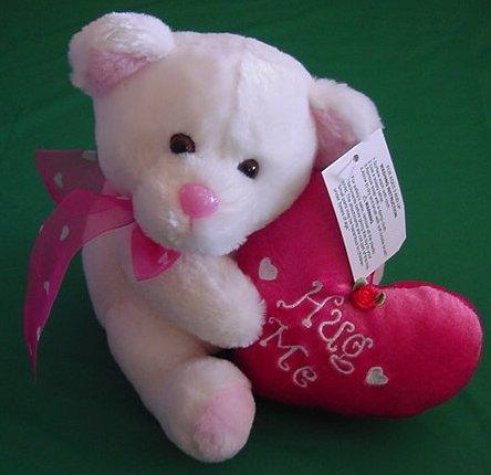 Wal-mart White Hug Me Bear Pink Heart Stuffed Plush
