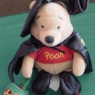 "Disney Store Halloween Pooh Witch Beanie Plush 9"" 2000"