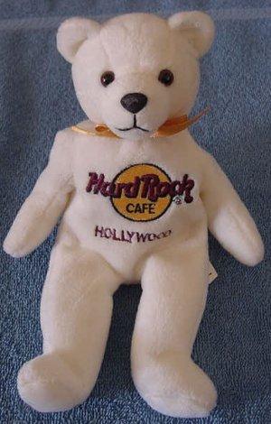 "Hard Rock Cafe Hollywood Bear Beanie Stuffed Plush 8"""