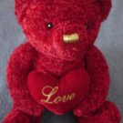 DanDee Red Bear with Love Heart Stuffed Plush 8.5""