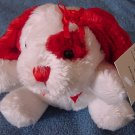 "DanDee White & Red Mini Dog Stuffed Plush 4"" Tag"