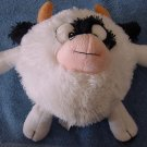 "Fiesta Black & White Round Cow Stuffed Plush 8"" Mo"