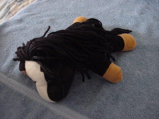 "Costar Black & White Horse Pony Stuffed Plush 7"""