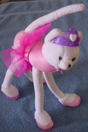 """Barbie Ballerina TuTu White Cat Stuffed Plush 10"""" 2001"""
