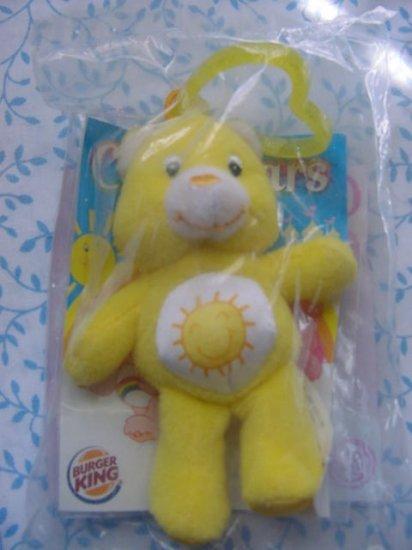 Burger King Care Bears Clip on Sunshine Yellow Bear Toy MIP 2005