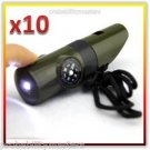 10 PACK - 7 in 1 Military Style Emergency Whistle Survival Kit w/ Light & ...