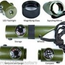 5 PACK - 7 in 1 Military Style Emergency Whistle Survival Kit w/ Light & C...