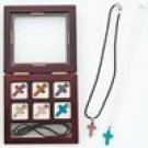 9pc Simulated Semi-Precious Stone Cross Necklace Set