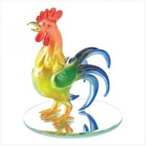 SPUN-GLASS ROOSTER FIGURINE