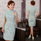 chinese cheongsam womens gown cotton qipao dress 120451 sky blue size 30-38