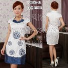 chinese cheongsam womens asian gown cotton qipao dress 120454 white size 30-38