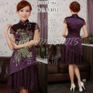 chinese cheongsam womens asian gown lace qipao dress 120457 purple size 30-38