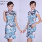 chinese cheongsam womens gown contton qipao dress 120459 blue gray size 30-38