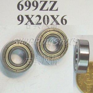 10pcs 699 699Z ZZ Miniature Bearings ball Mini bearing 9X20X6 9*20*6 mm 699ZZ 2Z  free shipping