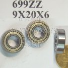 100pcs 699 699Z ZZ Miniature Bearings ball Mini bearing 9X20X6 9*20*6 mm 699ZZ 2Z  free shipping