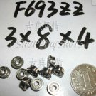 10pcs F693ZZ 3x8x4 Flanged 3*8*4 mm F693Z Miniature Ball Radial Bearing F693 ZZ   free shipping