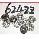 100 pcs 624-2Z ZZ Deep Groove Ball Bearing Quality 4x13x5 ABEC1 624Z 62ZZ 4*13*5  free shipping