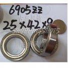 50 pcs thin 6905-2Z ZZ bearings Ball Bearing 6905ZZ 25X42X9 25*42*9 mm 6905ZZ Z  free shipping