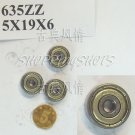 10pcs 635 ZZ Miniature Bearings ball Mini bearing 5x19x6 5*19*6 mm 635ZZ ABEC1  free shipping