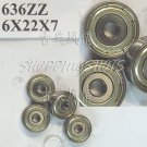 50pcs 636 ZZ Miniature Bearings ball Mini bearing 6x22x7 6*22*7 mm 636ZZ 2Z ABCE1  free shipping