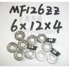 10 pcs MF126 6X12X4 Flanged 6*12*4 bearings Miniature Ball Radial Bearing MF126ZZ free shipping