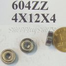 100pcs 604 2Z ZZ Miniature Bearings ball Mini bearing 4x12x4 4*12*4 mm 604ZZ balls free shipping