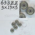 10pcs 633 ZZ Miniature Bearings ball Mini bearing 3x13x5 3*13*5 mm 633ZZ 2Z  free shipping