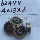 (10pcs) 4mm V Groove Sealed Ball Bearings 0.157 inch vgroove bearing 624VV 4*13*6  free shipping