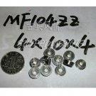 1 pcs MF104 4X10X4 Flanged 4*10*4 bearings Miniature Ball Radial Bearing MF104ZZ  free shipping