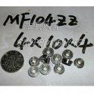 10 pcs MF104 4X10X4 Flanged 4*10*4 bearings Miniature Ball Radial Bearing MF104ZZ  free shipping