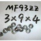 1pcs) MF93 3X9X4 Flanged 3*9*4 mm bearings Miniature Ball Radial Bearing MF93ZZ  free shipping