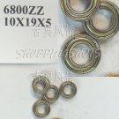 10 pcs 6800 6800Z ZZ Miniature Bearings thin bearing 10X19X5 10*19*5 mm 6800ZZ 2Z  free shipping