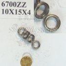 100 pcs 6700 6700Z ZZ Miniature Bearings Mini bearing 10X15X4 10*15*4 mm 6700ZZ 2Z  free shipping
