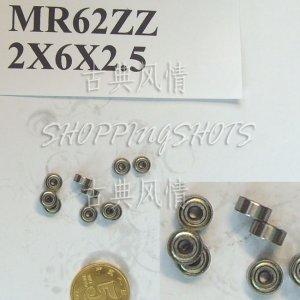 100pcs MR62 MR62Z Miniature Bearings ball Mini bearing 2X6X2.5 2*6*2.5 MR62zz 2Z ZZ free shipping