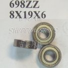 100 pcs 698 698Z ZZ Miniature Bearings ball Mini bearing 8X19X6 8*19*6 mm 698ZZ 2Z free shipping