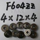 10pc F604ZZ 4x12x4 Flanged 4*12*4 mm F604Z Miniature Ball Radial Bearing F604 ZZ   free shipping